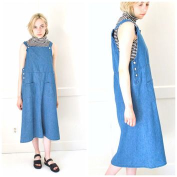 90s vintage DENIM overall dress early 1990s GRUNGE dark soft CHAMBRAY long midi dress medium os