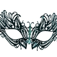 Burlesque Boutique Laser Cut Metal Venetian Mask Black with Clear Rhinestone