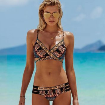 Fashion scales print chest straps cross bottom hollow two piece bikini