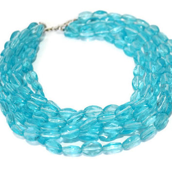 "Turquoise Blue Multi-strand Beaded Necklace, 15""-18"" Blue Lucite 6 Strand Necklace Choker,Something Blue,Aqua Lucite Bead Summer Necklace"