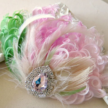 Bridal Hairpiece, Feather Fascinator, Wedding Hairpiece, Ivory,Pink, Green, Blush, Vintage Wedding, Prom