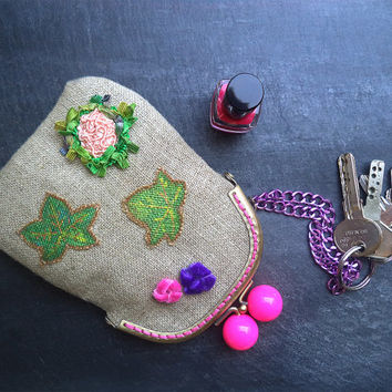 Hand painted clutch Linen make up bag Small cosmetic bag Key chain pouch embroidered with velvet ribbons.OOAK