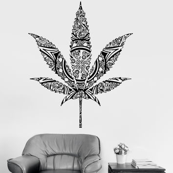 Vinyl Wall Decal Weed Cannabis Hemp Marijuana Rastafarian Stickers (ig3949)