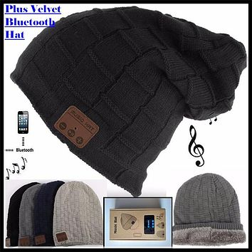 Wireless Bluetooth 3.0V Beanie Knitted Plus Velvet Winter Hat Headset Speaker Mic Hand-free Music Mp3 Magic Smart Cap