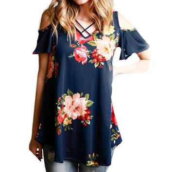 vessos 2017 women floral cold off the shoulder blouse casual v neck tee fashion blue white short sleeve tops brand