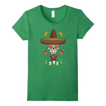 Day Of The Dead Mexican Sugar Skull Sombrero Fiesta T-Shirt