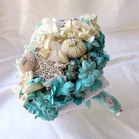 Seashell wedding bouquet, Tiffany Blue brooch bouquet, Beach Wedding Bouquet