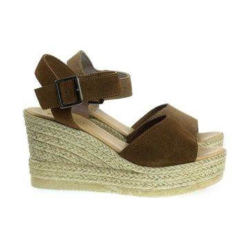 Minni03 By Bamboo, Plastic Faux Espadrille Platform Wedge Sandal, Open Toe