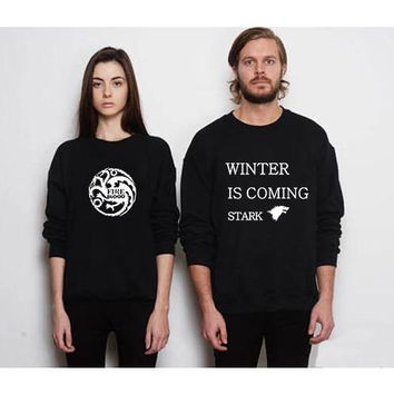 Letter Print Women Sweatshirt Game Of Thrones Comics Lettering Black Sweat Shirt Female Printed Harajuku Sweatshirts Hoodie BTS