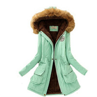 Womens Winter Down Coat Jackets Women Thicken Warm Winter Fur Collar Plus Size Parkas for Women Long Down Parka