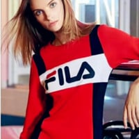 Fashion Hot Sale FILA Women Dress Red Blue Contrast Long Sleeve Dress