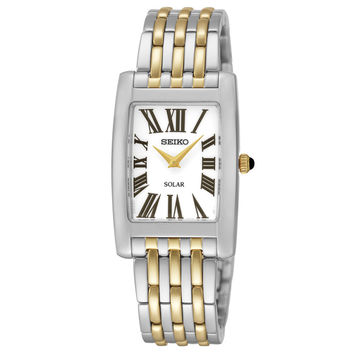 Seiko SUP268 Women's Watch Solar Two-Tone Stainless Steel Band White Dial