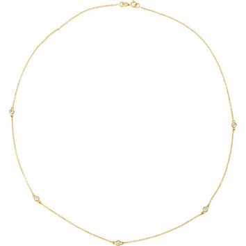 "14K Yellow 1-2 CTW Diamond Bezel 18"" Necklace"
