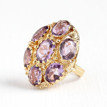 Amethyst Cluster Ring - 14k Yellow Gold Genuine 9.84 CTW Purple Gemstone Statement - Retro Size 5 1/4 February Birthstone Halo Fine Jewelry