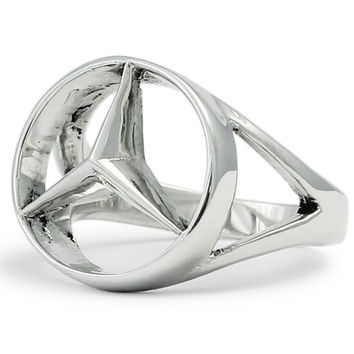 Sterling Silver Mercedes-Benz Ring - CONCAVE HEXAGON