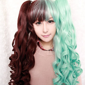 New cosplay Anime 70/60cm long green and green wig lolita wig ponytails,Colorful Candy Colored synthetic Hair Extension Hair piece 1pcs WIG-313A