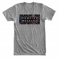 Vampire Weekend with floral background - Gray/White Unisex T-Shirt - 038