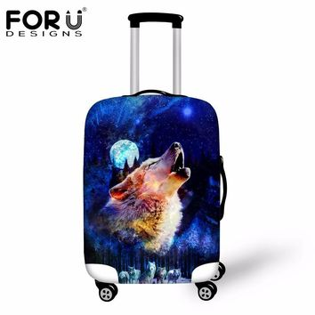 FORUDESIGNS Newest Elastic Luggage Protective Cover 3D Wolf Animal Travel Trolley Case Rain Covers S/M/L For 18-30 Inch Suitcase