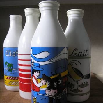 Vintage White Glass Milk Bottles. Instant Collection. Egizia. Carlton.