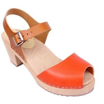 Lotta From Stockholm Classic High Heel Open Toe Clogs From Lotta in Tan and Orange Leather