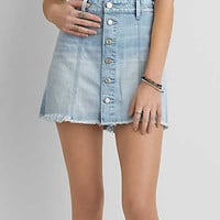 AEO Button Mini Skirt , Ice Blue