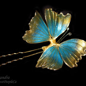 Blue Gold Butterfly Hair Pin Transparent Wedding Accessories Japanese Kanzashi OOAK