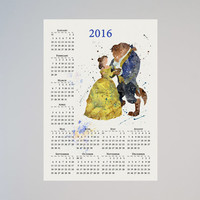 Beauty and the Beast Disney Calendar Personalized 2016 Belle Princess Watercolor Picture Print Save the date gift New Year Birthday present