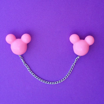 Handmade Pastel Pink Mickey Mouse Head Collar Pins/Sweater Clips