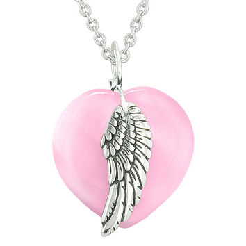 Guardian Angel Wing Inspirational Amulet Magic Heart Pink Simulated Cats Eye Pendant 22 inch Necklace
