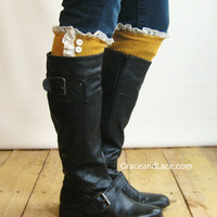 The Milly Lace - Mustard Yellow cable-knit Boot Socks with Ivory Lace Ruffle & buttons - lace socks (item no. 5-37)
