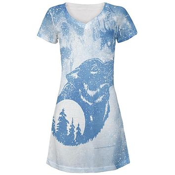 Distressed Blue Howling Wolf Silhouette Juniors V-Neck Beach Cover-Up Dress
