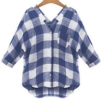 Plaid V-neck Half Sleeve Blouse