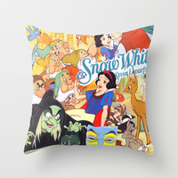 Snow White Collage Throw Pillow by Lauren Draghetti | Society6
