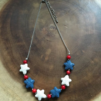 Red White Blue Necklace, Lava Star Necklace, Essential Oil Necklace Diffuser, Beaded Essential Oil Necklace, Fourth of July Necklace, USA
