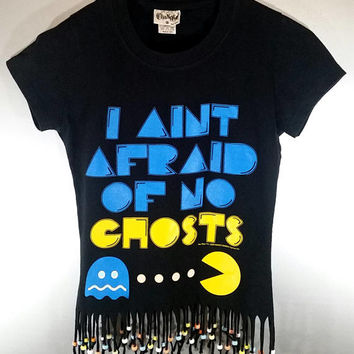 PAC MAN Fringed TShirt Beaded Graphic Crop Top Womens Small Nostalgic Tumblr Ghosts Gamer Girl Festival Rave Clothes Fun Vintage Vibes