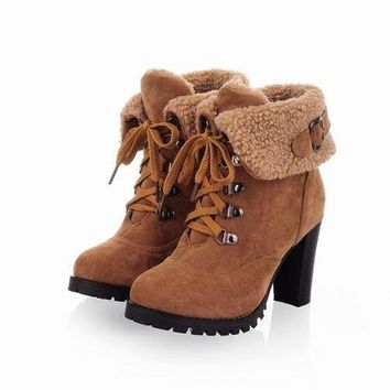 2015 Fashion Women Ankle Boots High Heels Lace up Platform Pumps Boots,women's shoes =