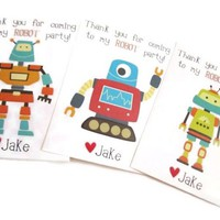 Personalized Robot Stickers for Boys Birthday or Baby Shower Party