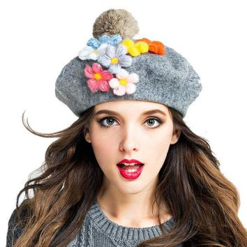 DCCKJG2 Women New Arrival Autumn Winter 100% Wool Beret Beanie Hat Vintage Lady Christmas Artist Painter DIY Floral Fur Ball Caps