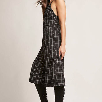 Grid Print Wide-Leg Jumpsuit