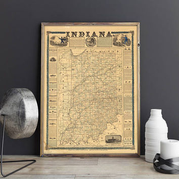 Old Map of Indiana| 1853 Pictorial Map of Indiana| Vintage Map of Indiana| Antique Map for Wall Decoration| USA Vintage Wall Map| AMC187