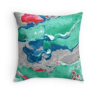 'Green and gray marble texture. ' Throw Pillow by kakapostudio