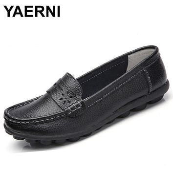 YAERNI New Women Real Leather Shoes Moccasins Mother Loafers Soft Leisure Flats Female Driving Casual Footwear Size 35-44 In 4 C