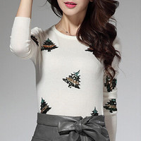 White Sequined Christmas Tree Slim Sweater
