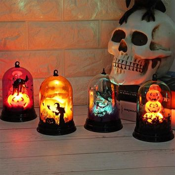 Portable Halloween Pumpkin Ghost Night Light Props Supplies Home Party Decor Luminous Skull Witch Lamp Retro  Lantern