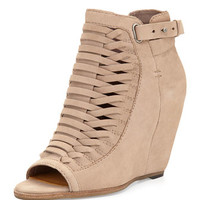 Nadie Nubuck Suede Leather Open-Toe Bootie, Taupe