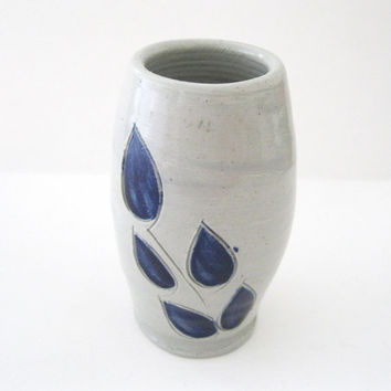 Williamsburg Pottery Vase Cobalt Blue Design Art Pottery Salt Glaze -FL