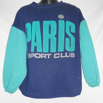 Vintage 80s 90s Paris Sport Club Teal and Navy Retro Sweatshirt