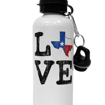 Texas Love Distressed Design Aluminum 600ml Water Bottle by TooLoud