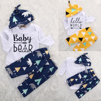 Newborn Girl Boy Baby Clothes Set Bear Cotton Romper Pants Cute Hat 3pcs Baby Coming Home Outfits Set