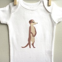 Lovely Meerkat Baby Bodysuit Romper One Piece for Baby Boy or Baby Girl Long or Short Sleeve 3, 6, 9, 12 Months